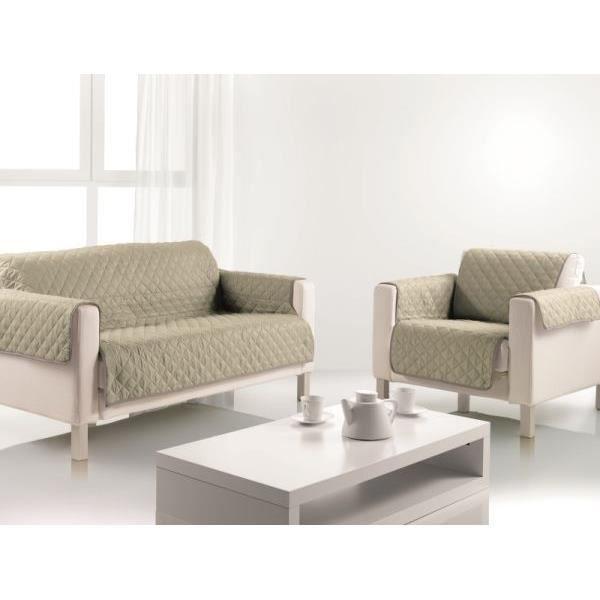 protege canape 2 places couleur argile 223x179 cm 100 polyester achat vente housse de. Black Bedroom Furniture Sets. Home Design Ideas
