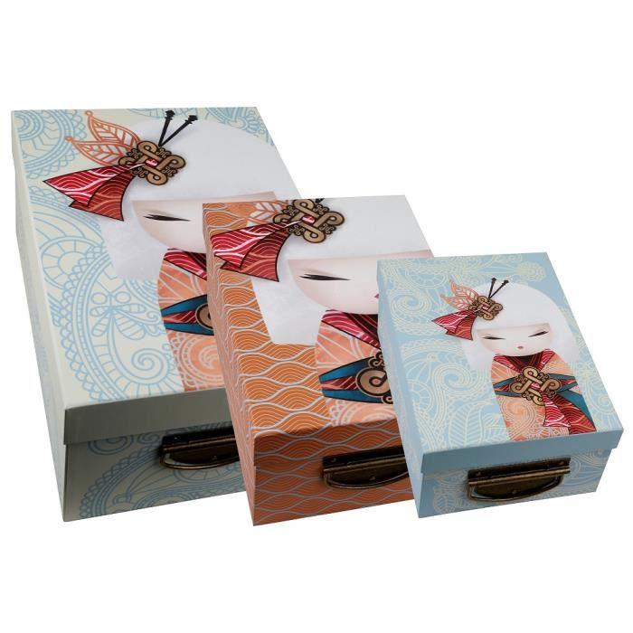 3 boites de rangement en carton kimmidoll achat vente boite de rangement soldes d hiver. Black Bedroom Furniture Sets. Home Design Ideas