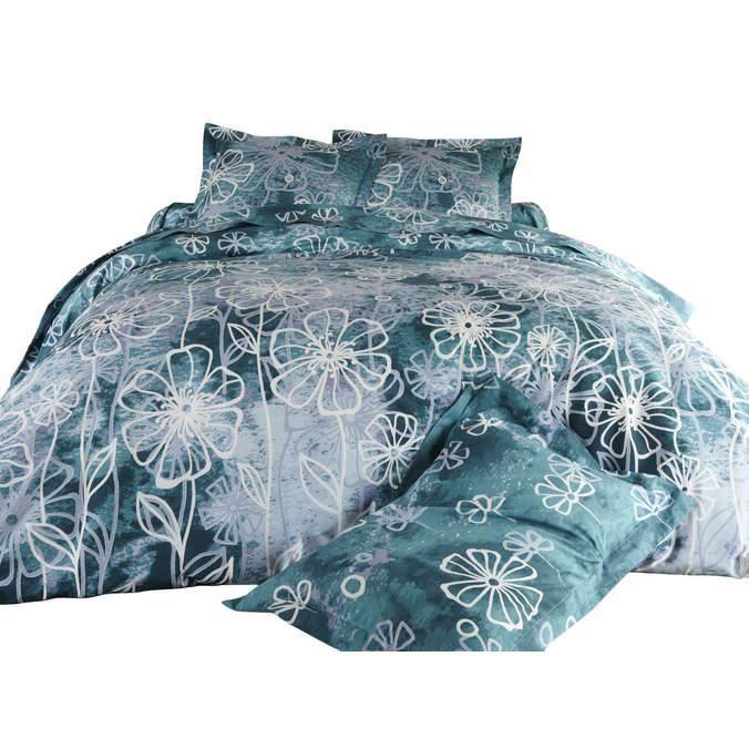 parure de lit housse de couette fleurs marines 220x240cm achat vente parure de drap cdiscount. Black Bedroom Furniture Sets. Home Design Ideas