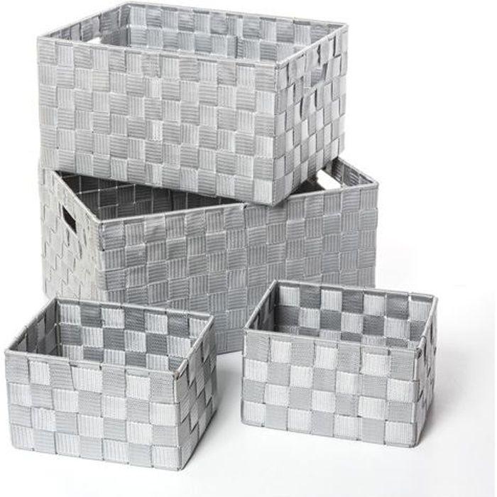 4 paniers de rangement gris achat vente panier bac rangement polyester cdiscount. Black Bedroom Furniture Sets. Home Design Ideas