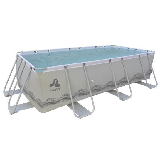 Piscine rectangulaire avec structure grise 400x207x122cm for Achat piscine rectangulaire