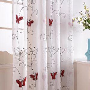 rideaux voilages blanc et rouge achat vente rideaux voilages blanc et rouge pas cher les. Black Bedroom Furniture Sets. Home Design Ideas
