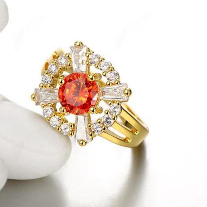 Belle bague Bijoux mariage femmes Or jaune 18k plaqué Anneau rubis ...