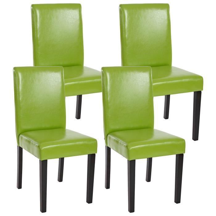 4 chaises de salle manger vert similicuir achat for Chaise salle a manger vert anis
