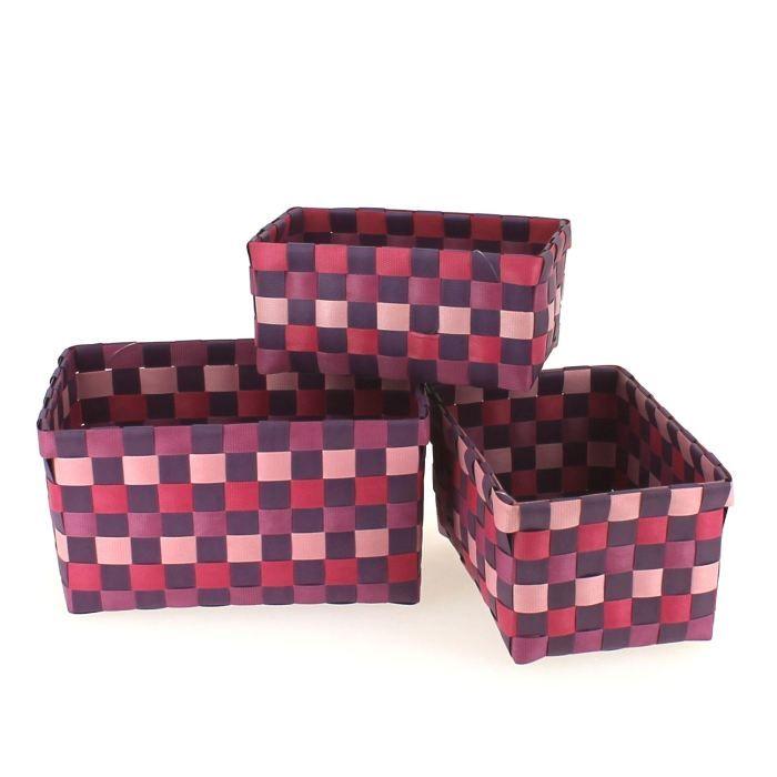 set de 3 paniers tresses violine achat vente casier pour meuble plastique cdiscount. Black Bedroom Furniture Sets. Home Design Ideas