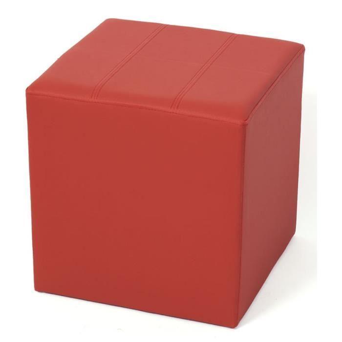 tabouret cube paris en simili cuir coloris bord achat vente tabouret cuir plastique. Black Bedroom Furniture Sets. Home Design Ideas