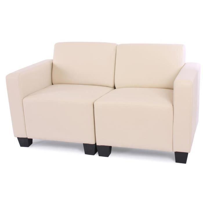 modulaire de 2 places canap lit lyon cr me en achat. Black Bedroom Furniture Sets. Home Design Ideas