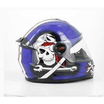 casque int grale enfant bleu pirate taille l 53 54cm achat vente casque moto scooter. Black Bedroom Furniture Sets. Home Design Ideas