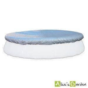 B che de protection grise 380cm pour piscine ronde hors for Bache protection piscine ronde