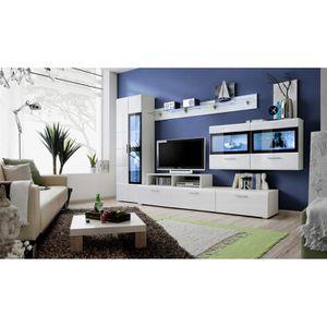 Salon complet blanc laque achat vente salon complet for Meuble salon complet