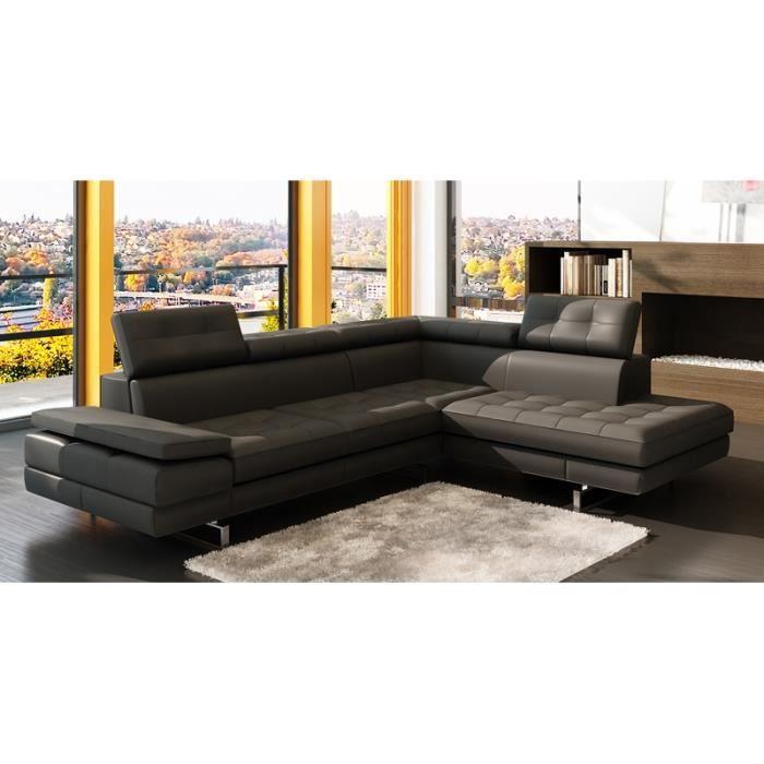 canap d 39 angle capitonn noir t ti res relevable achat vente canap sofa divan cuir. Black Bedroom Furniture Sets. Home Design Ideas