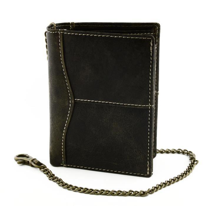 portefeuille en cuir pour homme noir maroquinerie fait en italie accessoires achat vente. Black Bedroom Furniture Sets. Home Design Ideas