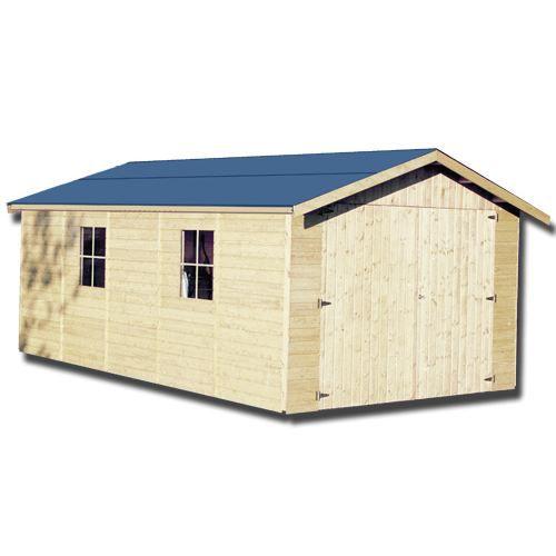 Garage en bois 15 mm 15 51m achat vente abri jardin chalet abris en - Garage bois discount ...