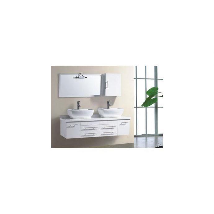 Meuble de salle de bain hera 2 vasques 1 miroir blanc achat vente sal - Miroir salle de bain cdiscount ...