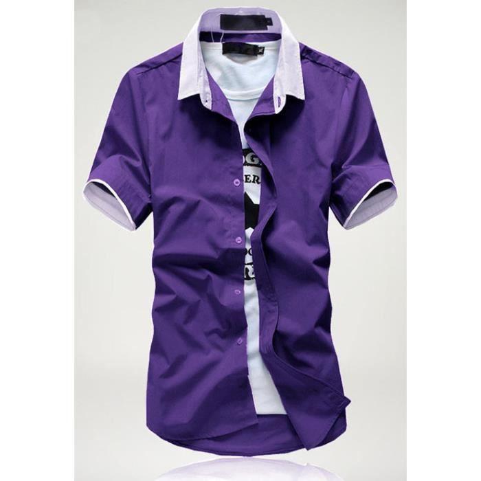chemise manches courtes homme violet blanc achat vente. Black Bedroom Furniture Sets. Home Design Ideas
