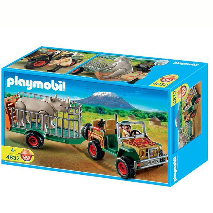 Playmobil v hicule de safari avec rhinoc ros achat vente univers miniature les soldes sur - Playmobile savane ...
