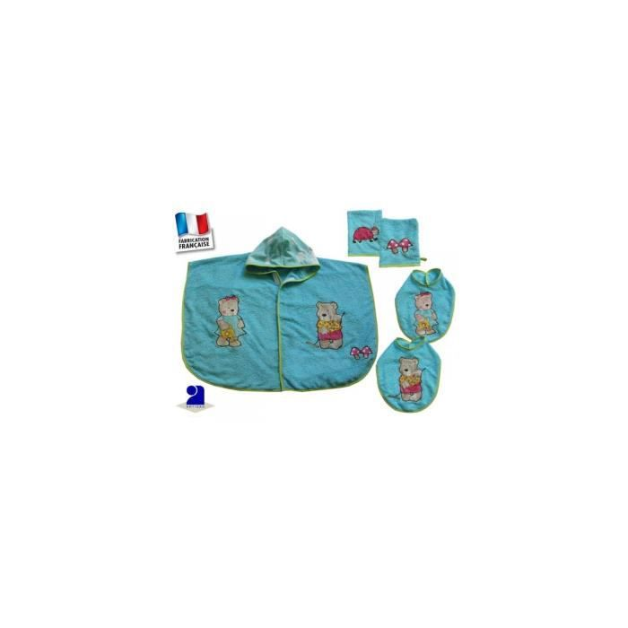 poncho de bain b b bavoirs gants bleu 0 2 ans achat vente sortie de bain 3700971734832. Black Bedroom Furniture Sets. Home Design Ideas