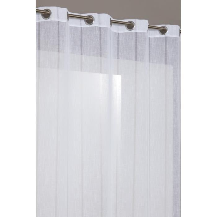 rideau voilage en effet lin avec des traits discrets blanc ce rideau voilage avec des traits. Black Bedroom Furniture Sets. Home Design Ideas