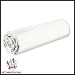 DRAP HOUSSE Drap Housse Uni 1 Personne 90X190 cm - Blanc -Déco