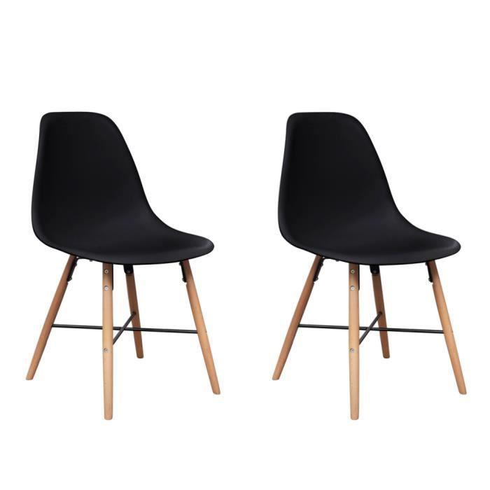 Set de 2 chaises de salle manger avec pieds en bois noir for Chaise de salle a manger avec roulette