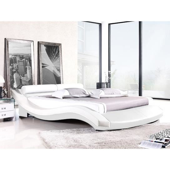 lit design 140 blanc achat vente lit complet lit design 140 blanc cdiscount. Black Bedroom Furniture Sets. Home Design Ideas