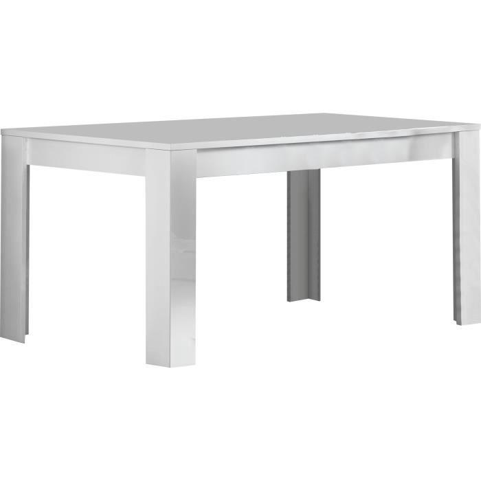 Table manger laqu e brillante de 160cm coloris blanc blanc achat vente - Discount table a manger ...
