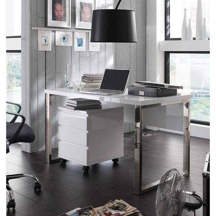ensemble bureau et caisson sur roulettes design carl coloris blanc laqu l 39 ensemble bureau et. Black Bedroom Furniture Sets. Home Design Ideas