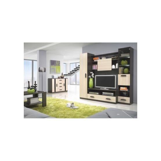 Meuble tv design mural osvaldo bois et wenge achat for Meuble tv mural bois