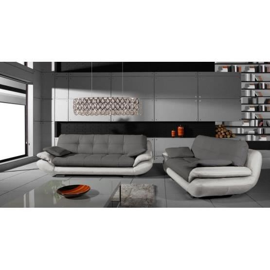 ensemble de canap s 3 2 regal gris et blanc achat. Black Bedroom Furniture Sets. Home Design Ideas