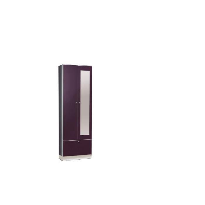 Colonne 2 portes aubergine 59 cm wade achat vente - Colonne rangement plastique ...
