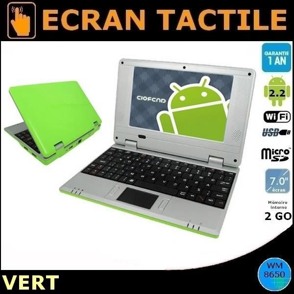 Netbook vert cran 7 tactile android 2 2 wifi cam ra for Photo ecran android 7