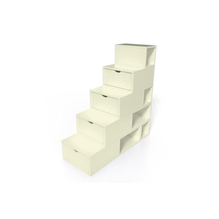escalier cube de rangement hauteur 125 cm ivoire achat vente petit meuble rangement escalier. Black Bedroom Furniture Sets. Home Design Ideas