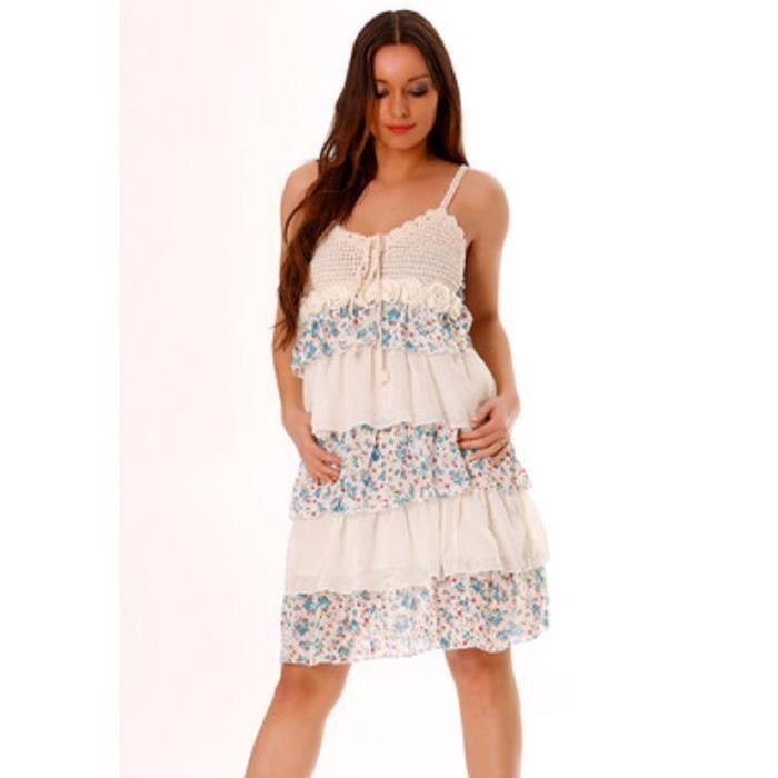 robe blanche bleu imprim e avec volant et de la dentelle blanc blanc achat vente robe. Black Bedroom Furniture Sets. Home Design Ideas
