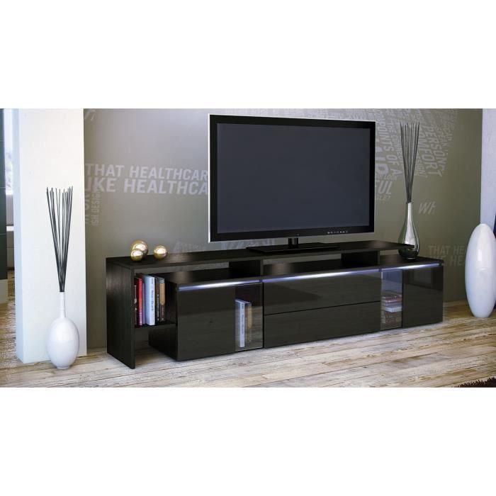meuble tv noir noir m tallique 187 x 47 x 35 cm achat. Black Bedroom Furniture Sets. Home Design Ideas