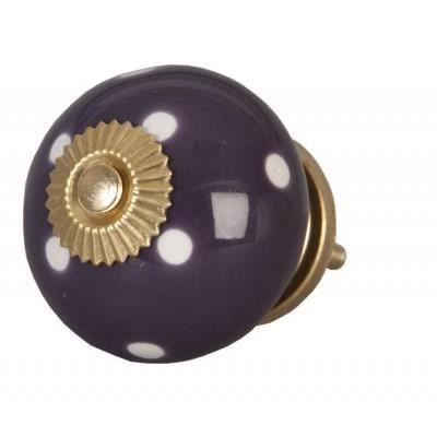 Bouton de porte tiroirs de meubles violet pois blanc achat vente poign e bouton meuble for Combouton de porte cuisine
