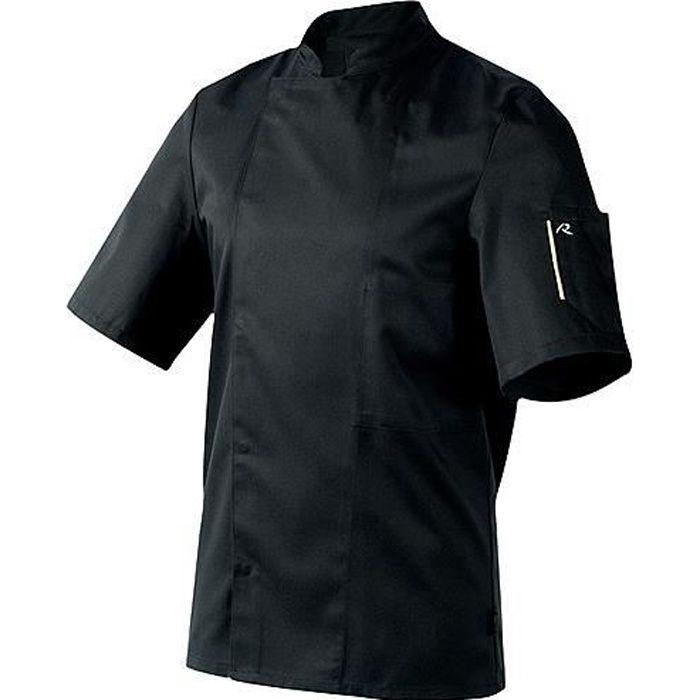 Veste de cuisine noir manches courtes achat vente for Achat veste de cuisine