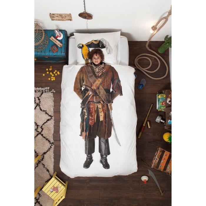 parure de lit pirate 1 place 140x200cm couette achat vente parure de drap cdiscount. Black Bedroom Furniture Sets. Home Design Ideas