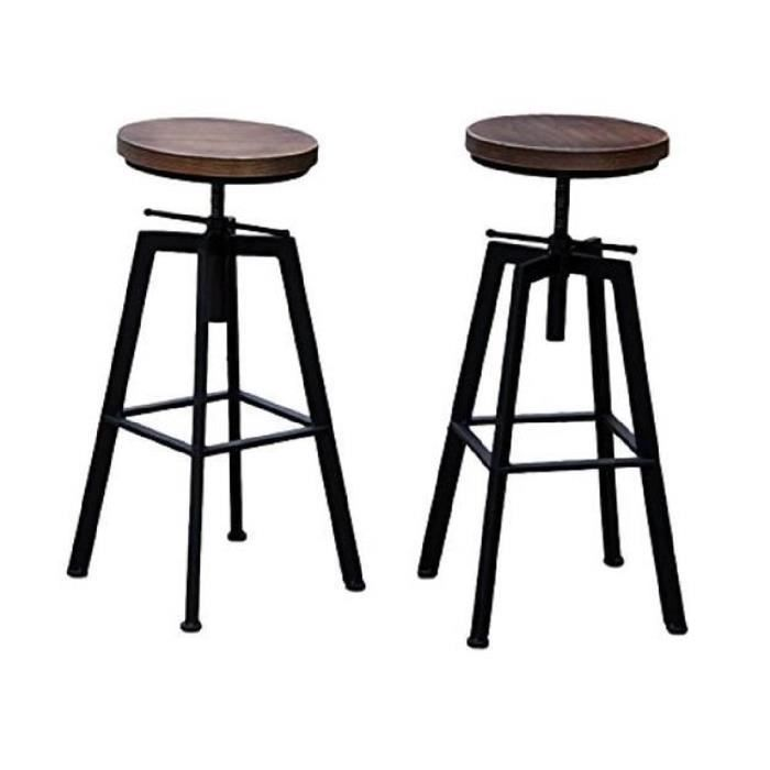 tabouret de bar yako 2 r glable design luxe industriel design retro vintage m tal bois achat. Black Bedroom Furniture Sets. Home Design Ideas