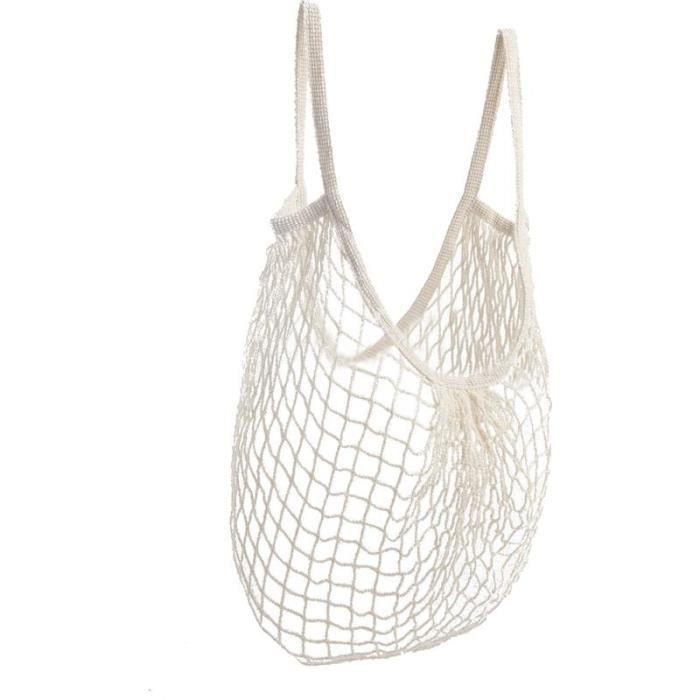 sac de course en coton blanc beige filet provisions achat vente sac shopping. Black Bedroom Furniture Sets. Home Design Ideas