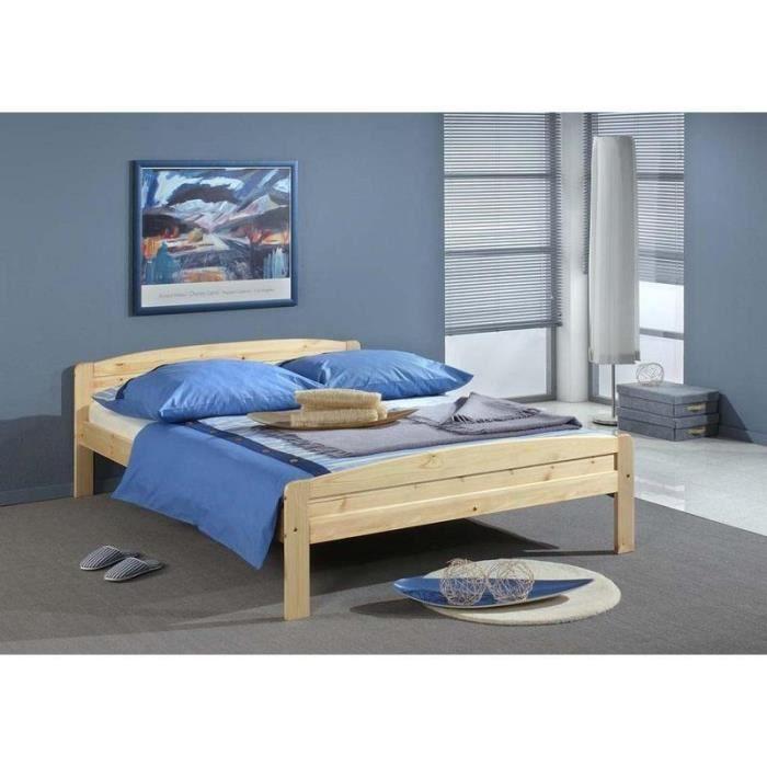 lits bois bois 140 x 190 lit juliane achat vente structure de lit lits bois bois. Black Bedroom Furniture Sets. Home Design Ideas