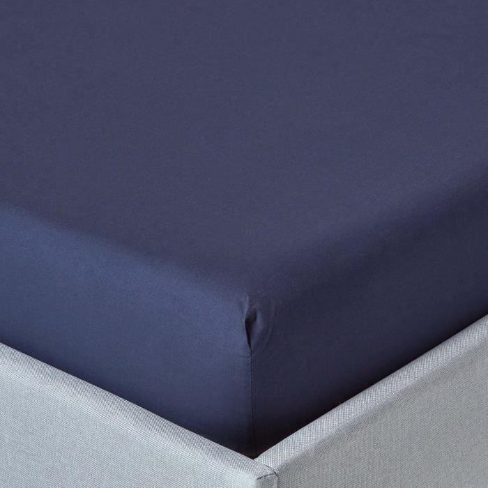 Drap housse bleu marine 100 coton gyptien 200 fils 90 x for Drap housse coton egyptien
