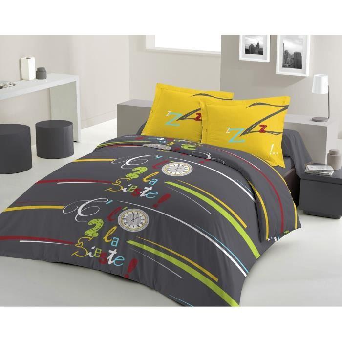 Lovely home parure de couette sieste 100 coton 1 housse for Soldes housse de couette 220x240
