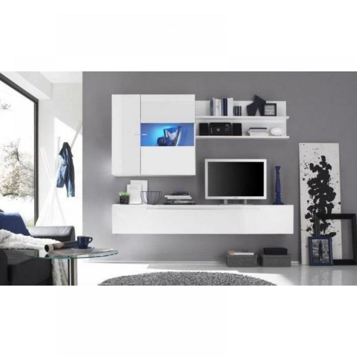 composition murale tv design primera 2 blanc br achat. Black Bedroom Furniture Sets. Home Design Ideas