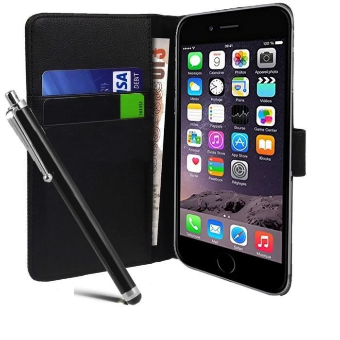 Housse portefeuille iphone 6 5 5 stylet achat housse for Housse portefeuille iphone 6