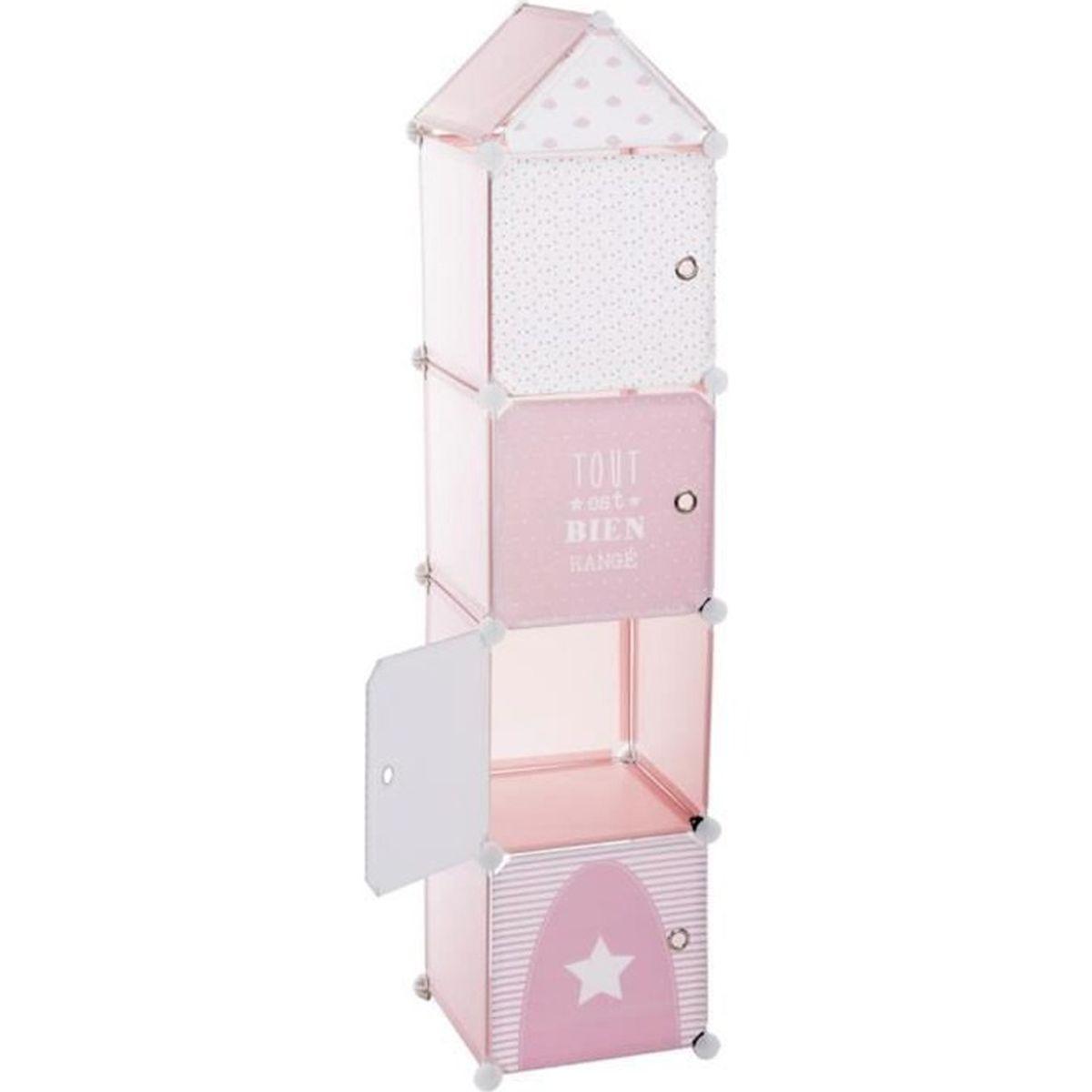 Tour de rangement colonne rose achat vente petit - Colonne rangement plastique ...