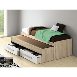 lit deux place avec rangement achat vente lit deux place avec rangement pas cher cdiscount. Black Bedroom Furniture Sets. Home Design Ideas