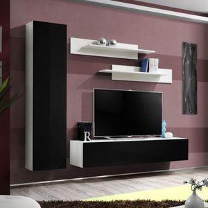 Meuble tv mural noir et blanc design achat vente for Meuble mural tv fly
