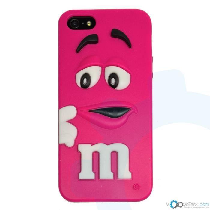Coque silicone Mu0026Mu2019s 3D fuchsia pour iPhone 4 et 4S - Coque silicone