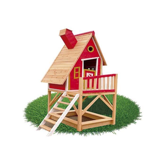 Maison pour enfants en bois pinochio outdoor toys rouge for Maison plein air enfant