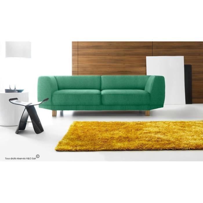 canape tissu 3 places avec pieds en bois enjoy bleu. Black Bedroom Furniture Sets. Home Design Ideas